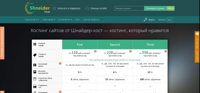 Shneider-host всегда входит в рейтинг хостинг провайдеров